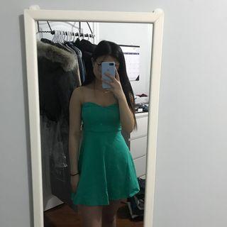 forever21 green skater dress