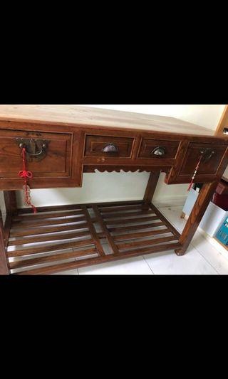 Antique Wooden Table with Special Foot Rest