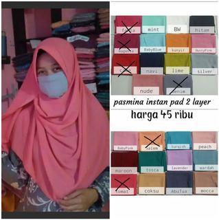 Hijab Instan/Pasmina Instan Pad dan Non pad
