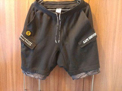 100%正版Aape黑色雙拉鏈黑少少迷彩短褲