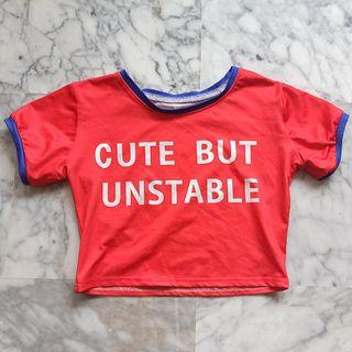 Red Cute but Unstable Crop Top