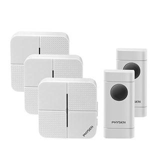 (BNIB) PHYSEN Waterproof Door Chime 2 Push Buttons with 3 Plug In Receivers & 52 Ringtones - White (Brand New Boxed)