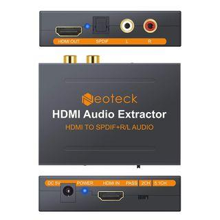 (BN) NEOTECK HDMI to HDMI and Optical TOSLINK SPDIF + L/R Stereo Audio Extractor Converter Splitter Adapter with HDCP v1.3 Decryption (Brand New)
