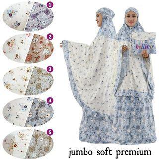 Mukena Rampel Jumbo Rayon Premium 1 Set Berikut Tas Bahan Super Adem