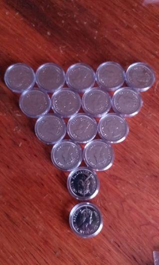 香港:硬幣:全部:1975年:大1元:女皇頭:共16個