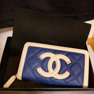 🚚 全新正貨Chanel 香奈兒中長款皮夾(深藍、白與紅)