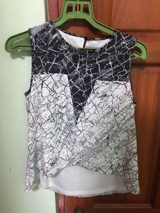 LB Love Bonito Black and White Assymmetrical Top