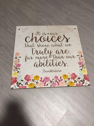 """🚚 Dumbledore Harry Potter """"It is our choices"""" quote wooden board decor"""