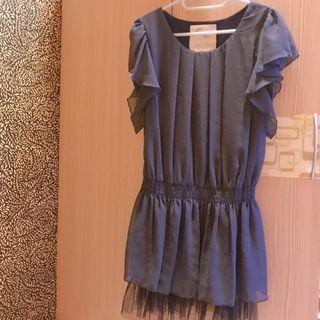 藍色連身雪紡洋裝