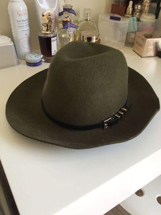 正韓 墨綠色毛料紳士帽