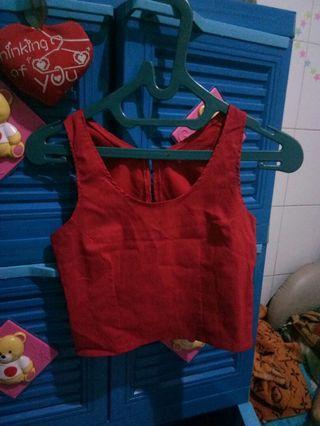 Baju Red Crop Top