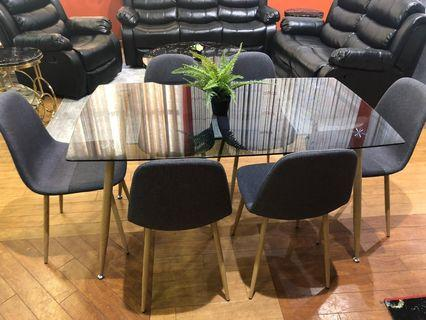 Sale on now! Dining table and chairs frosted black glass