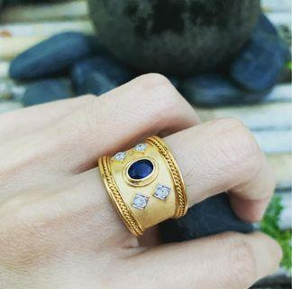 🚚 JFS not for sale - 916 Gold ring with blue sapphire and 💎