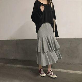 大尺碼韓版高腰蛋糕半身裙(黑色)