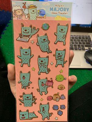 可愛質感貼紙-翻糖星球金邊造型貼紙