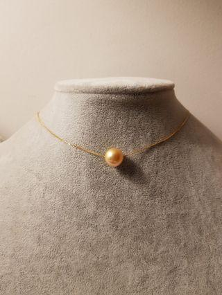 Single 18 Gold Pearl Necklace ( thin adjustable system)