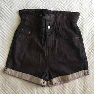 Size 8 Black and Grey High Waisted Paperbag Shorts