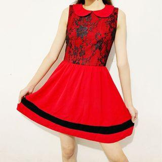 Red & Black Brokat Dress