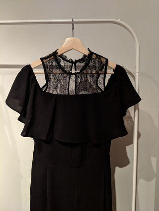 ZARA Black Jumpsuit with Lace Neck Size XS/S