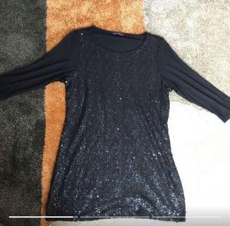 Mark & Spencer Glitter Black Beaded Blouse