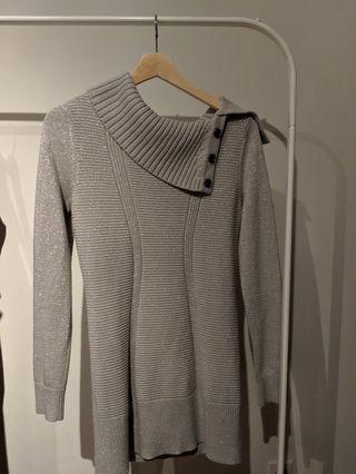 Silver Knit Short Dress Size S.