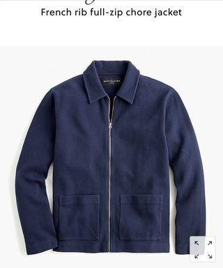 J Crew French Rip Full ZIP Chore Jacket size Small