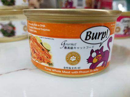 🐱 Burp! Canned Cat Wet Food (Tuna Whole Meat with Prawn in Jelly) x 6 🐱