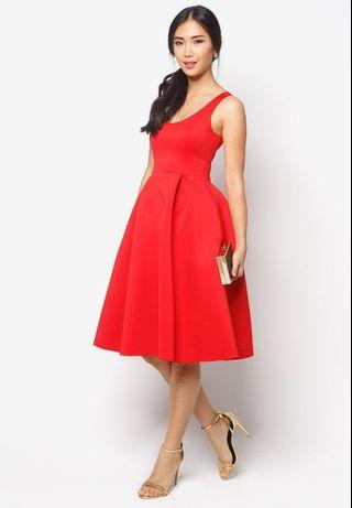 Red midi dress by zalora fall collection