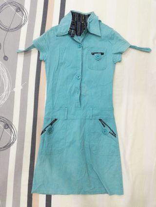 Denim blue-green button down dress
