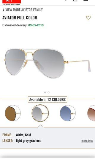 Ray Ban Aviators (White & Gold) Sunglasses