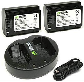 Wasabi power fz100 set 2 batteries 1 charger