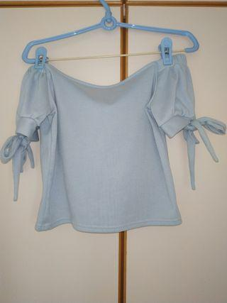 Light Blue Off Shoulder knit Top