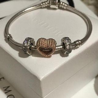 原價$349 全新 PANDORA Beaded Heart Charm 玫瑰金心吊飾