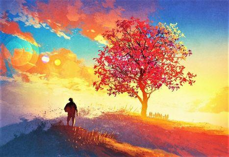 🚚 Coming Home to an Autumn Tree on the Mountain Illustration Painting Canvas Art Print