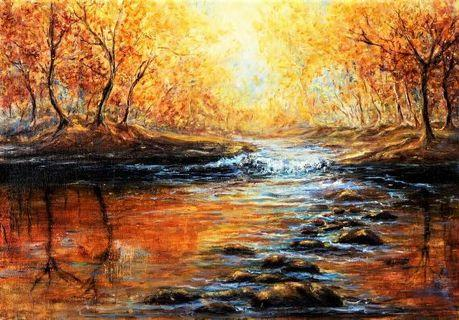 🚚 Autumn Forest and River Modern Impressionism Oil Painting Canvas Art Print