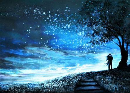 🚚 Fantasy Illustration of a Romantic Couple Beneath the Night Sky and the Milky Way Canvas Art Print