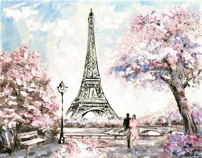 🚚 Street View of Paris with the Eiffel Tower Tender Landscape Oil Painting Canvas Art Print