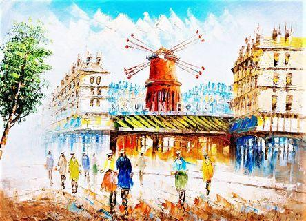 🚚 Street View of Paris with the Moulin Rouge Oil Painting Illustration Canvas Art Print