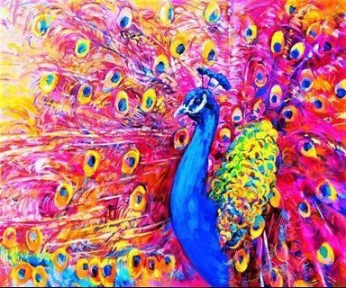 Vibrant Colourful Peacock Modern Impressionism Oil Painting Canvas Art Print