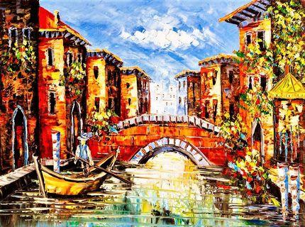 Venice Italy Oil Painting Illustration Canvas Art Print
