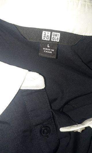 blouse uniqlo navy / biru dongker polos