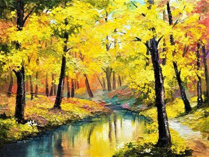 Yellow Autumn Forest Oil Painting Canvas Art Print