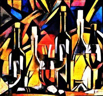 Wine Theme Bottles Glasses and Grapes on the Table Cubism Art Oil Painting Canvas Art Print