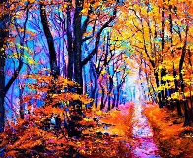 Fall Autumn Forest Landscape Modern Impressionism Oil Painting Canvas Art Print