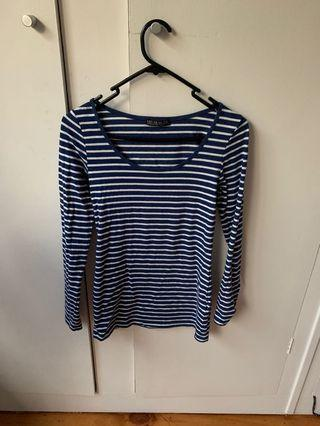 Navy blue and white striped long sleeve top