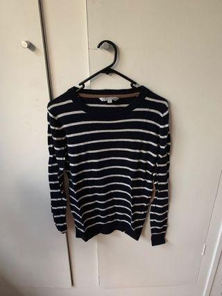 Navy blue and white striped jumper