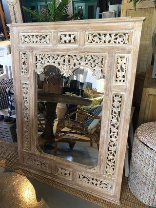 Save $100! White washed carved teak mirror