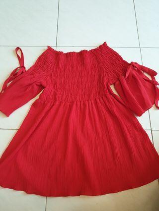 🚚 Red Off Shoulder Top/ Dress