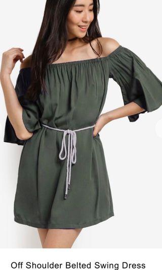 Off Shoulder Belted Swing Dress In Black