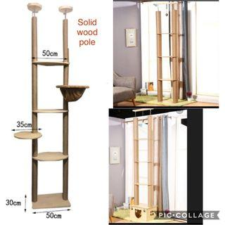 (New!) no drill cat condo double ceiling cat tree house scratch pole solid wood
